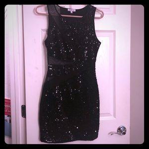 Black mini dress with sequins